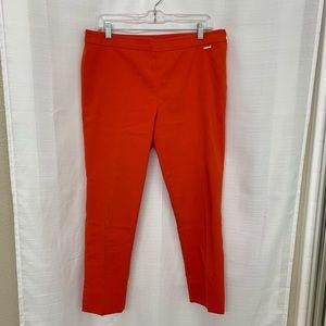 Tory Burch Flat Front Side Zip Crop 10 Orange Pant